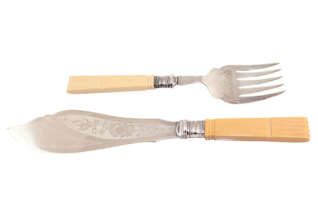 Bone-Handle Fish Servers, Pair