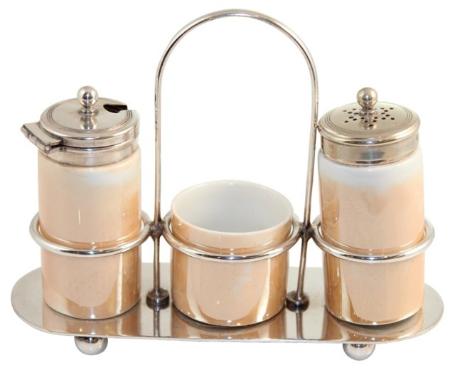 Ceramic Condiment Set, 4 Pcs