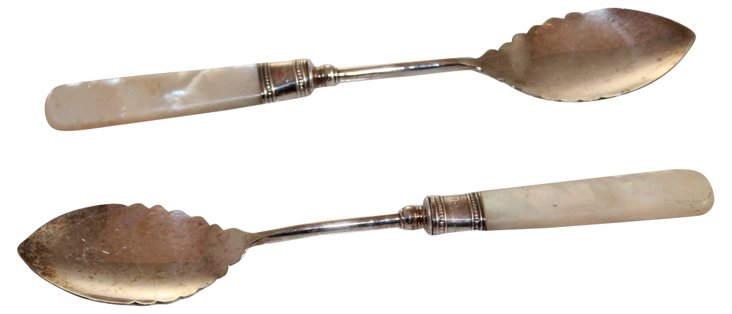 Mother-of-Pearl Jam Spoons, Pair