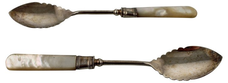 Mother-of-Pearl Handled Spoons, Pair