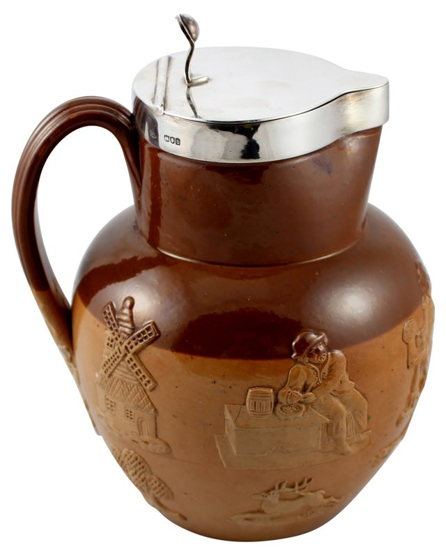 Ceramic Jug w/ Sterling Lid