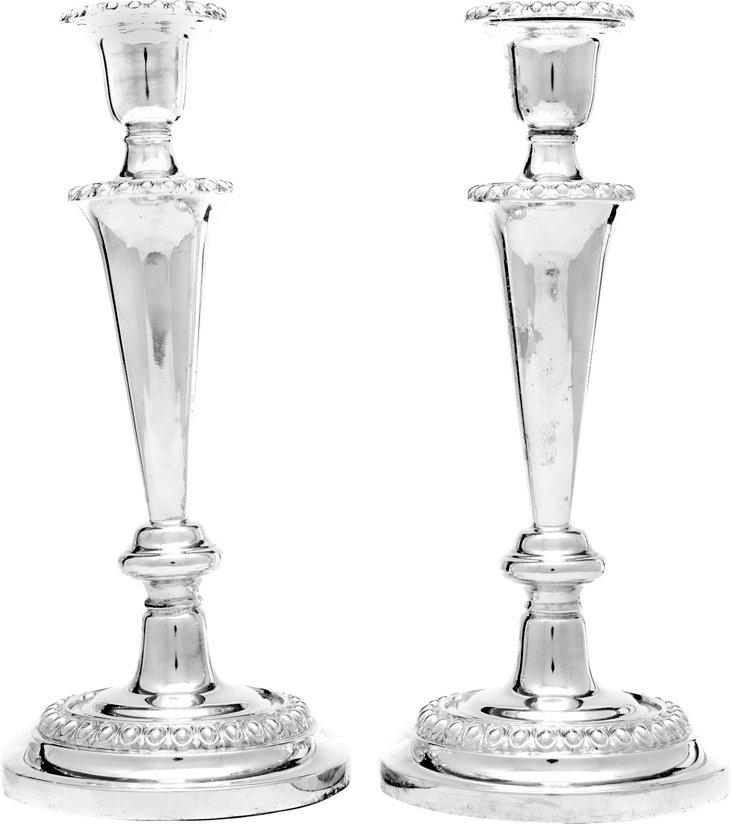 Victorian Silverplate Candlesticks, Pair