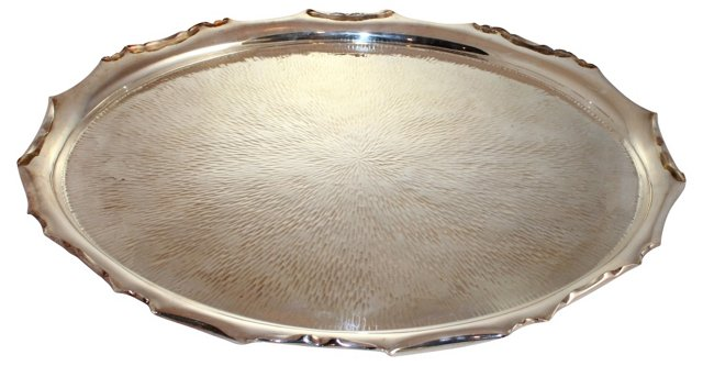 Hammered Silverplate Tray, C. 1890
