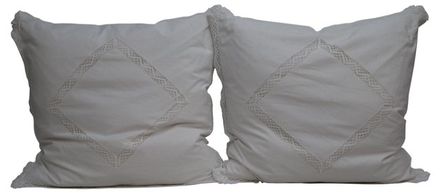 Pillows w/ Italian  Lace  Shams, Pair