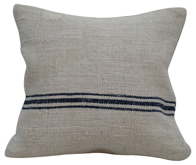 Navy-Striped    Grain  Sack Pillow