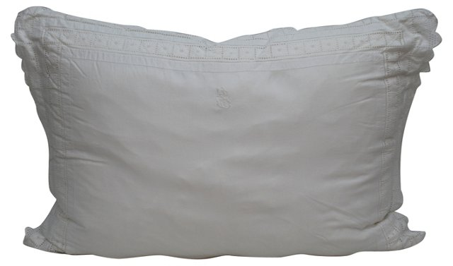 Pillow w/ French Lace Monogrammed Sham