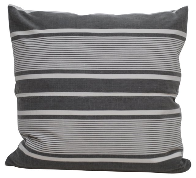 Gray     French Ticking Pillow