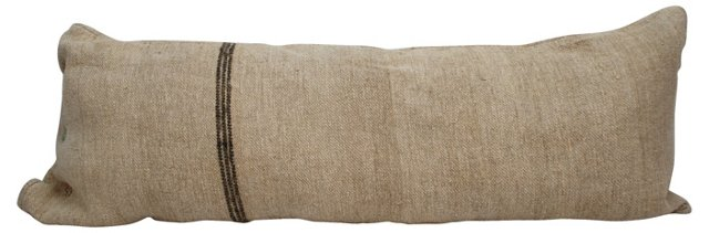 Long Striped Grain Sack Pillow