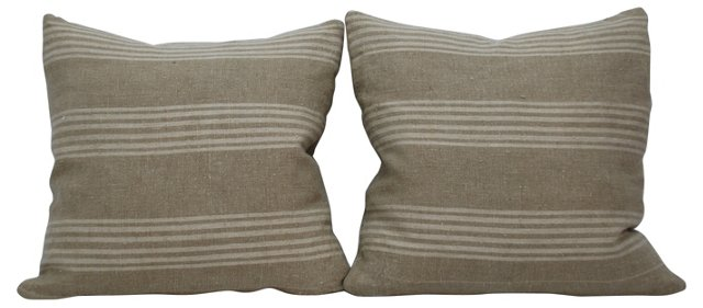 Striped French  Linen    Pillows, Pair