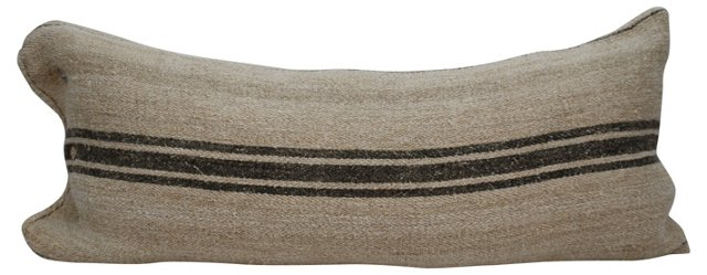 Brown-Striped  Grain  Sack Body  Pillow