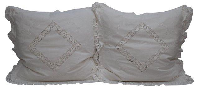 Pillows w/ Italian   Lace Shams, Pair