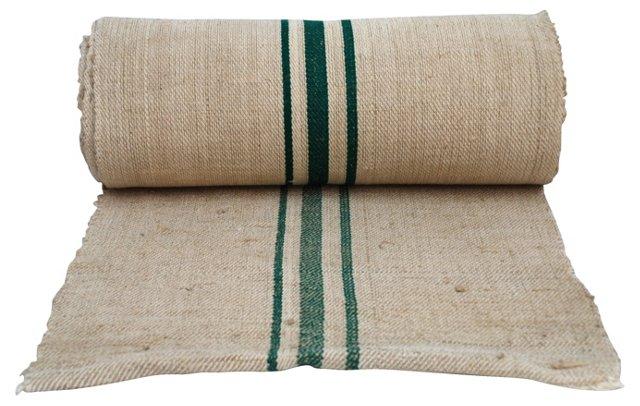 Green-Striped Grain Sack Fabric, 12 Yds