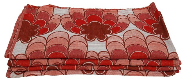 Red Floral Scandinavian Fabric, S/4