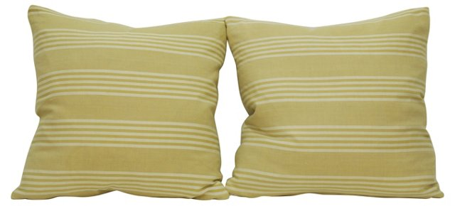 Tan French Ticking   Pillows, Pair
