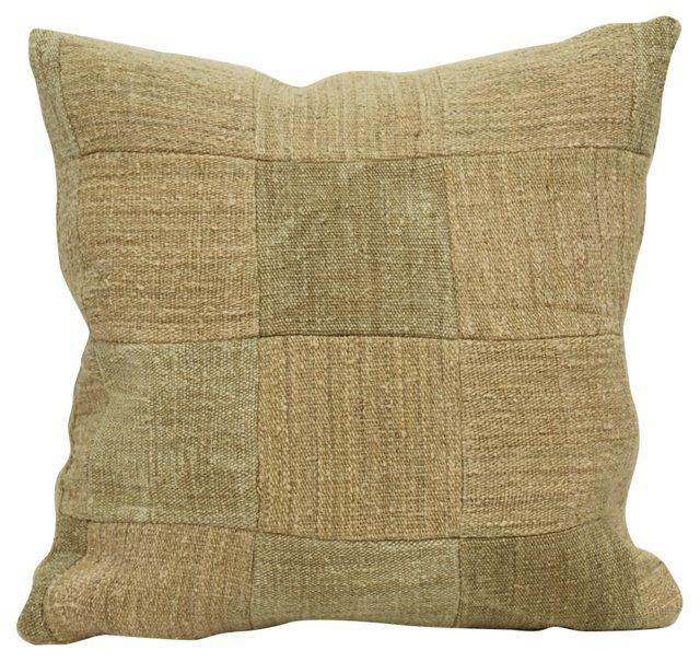 Dark Beige Patchwork Pillow