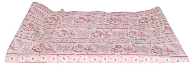 Red Floral European Fabric, 7 Yds