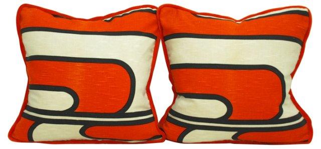 Orange & White Graphic   Pillows, Pair