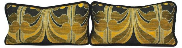 Black & Gold Boudoir Pillows, Pair