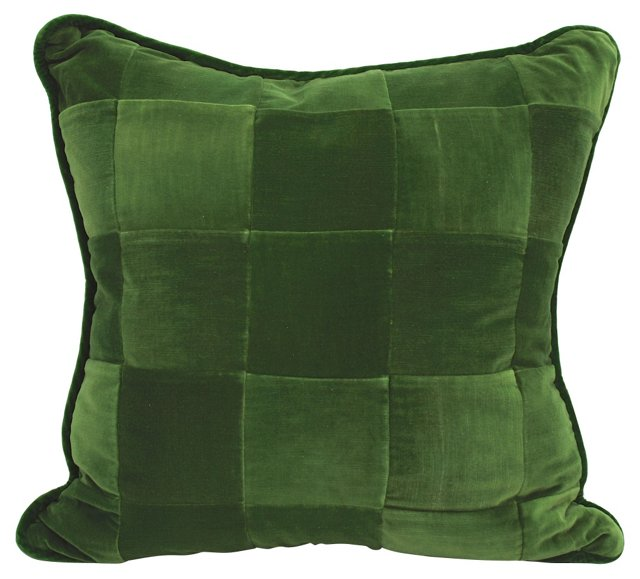 Green Velvet Patchwork Pillow