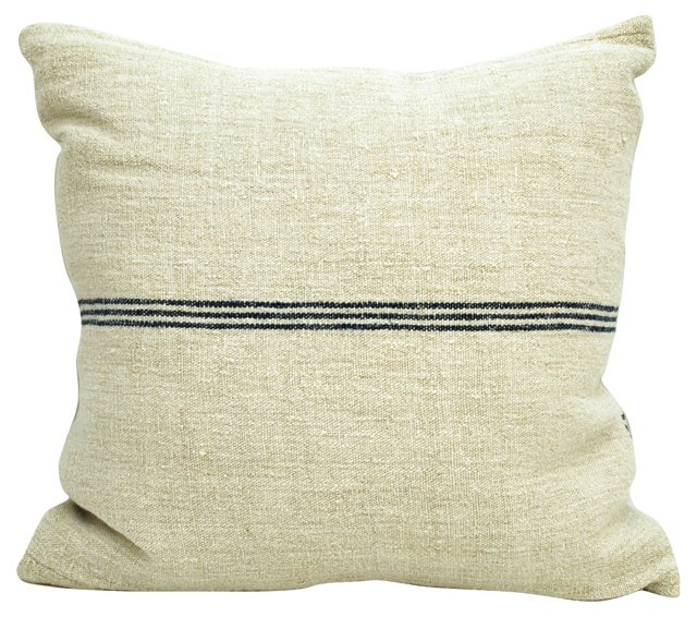 Grain Sack Pillow w/ Navy   Stripes