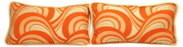 Orange & Cream Boudoir Pillows, Pair