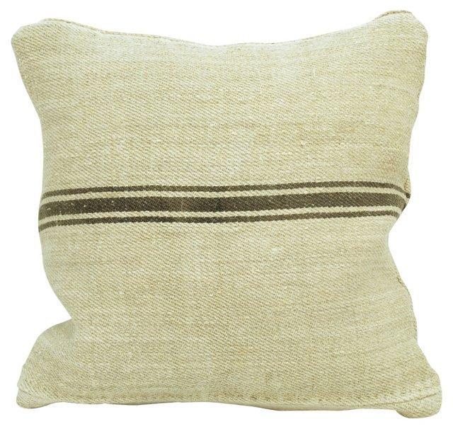 Brown-Striped  Grain Sack  Pillow