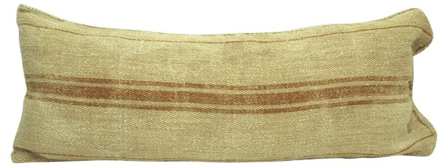 Orange-Striped  Grain Sack Body Pillow