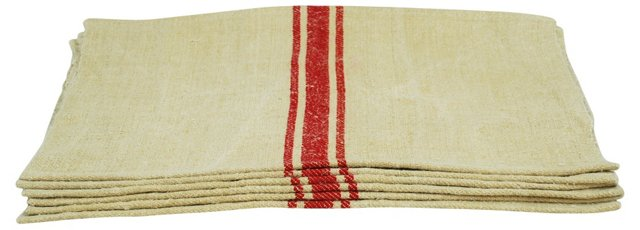 Red Striped Grain Sack Place Mats, S/6