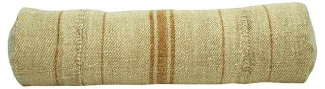 Orange-Striped Grain Sack Bolster