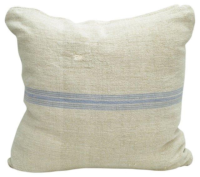 Periwinkle-Striped Grain Sack   Pillow