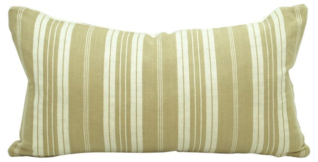 French Beige  Ticking Boudoir Pillow