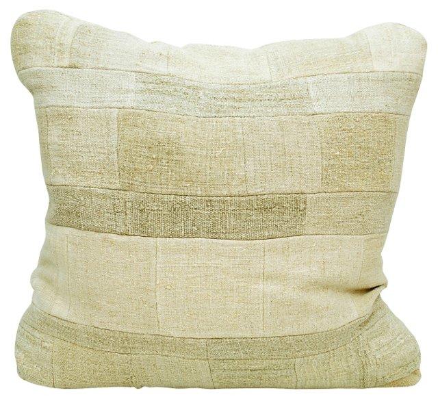 Linen Grain Sack Patchwork Pillow