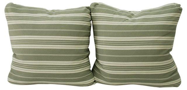 Gray &      Cream  Ticking Pillows, Pair