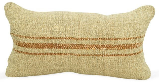 Orange-Striped Grain Sack Boudoir Pillow