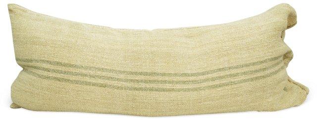 Gray-Striped    Linen Body Pillow