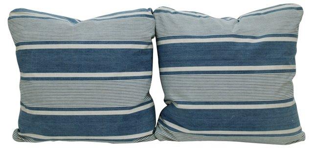 Blue &   White French Ticking Pillows