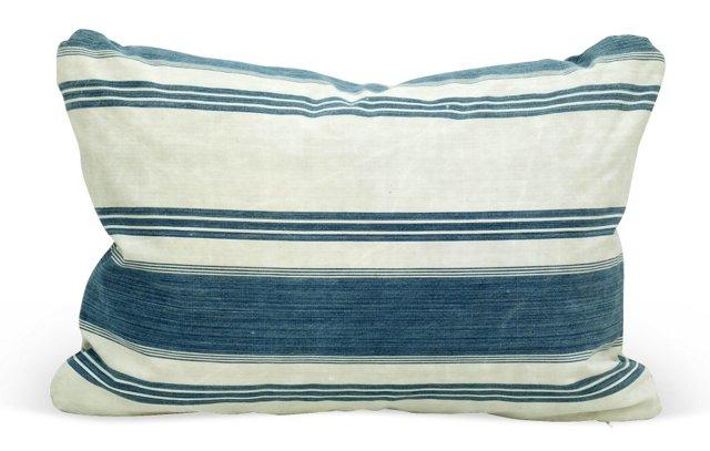 Blue &     White French Ticking Pillow
