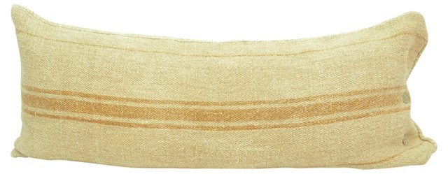 Orange-Striped   Linen Body Pillow