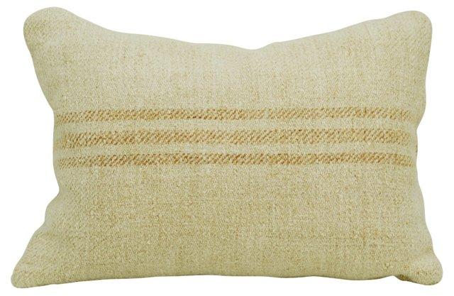 Faded Orange-Striped    Linen Pillow