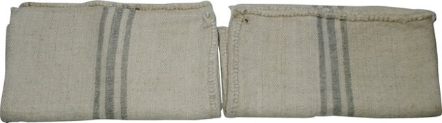 Light Gray 3-Stripe Grain Sacks, Pair