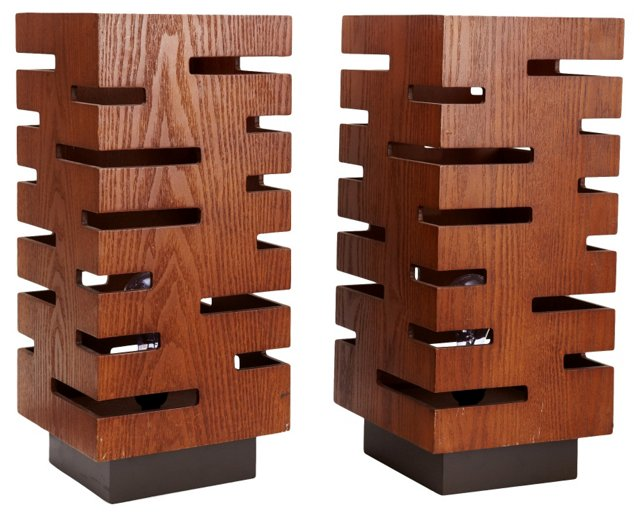 Modernist Wood Table Lamps, Pair