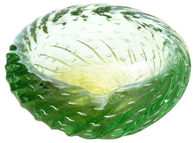 Green & Gold Murano Glass Bowl