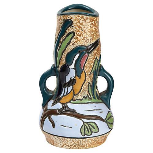 Austrian Amphora Vase w/ Marlin