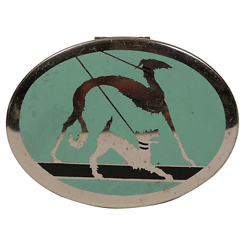 Deco-Style Chrome Box w/ Dogs on Leashes