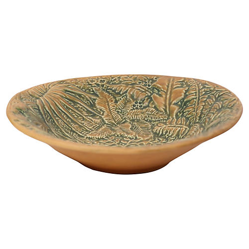 Art Pottery Bowl w/ Ferns