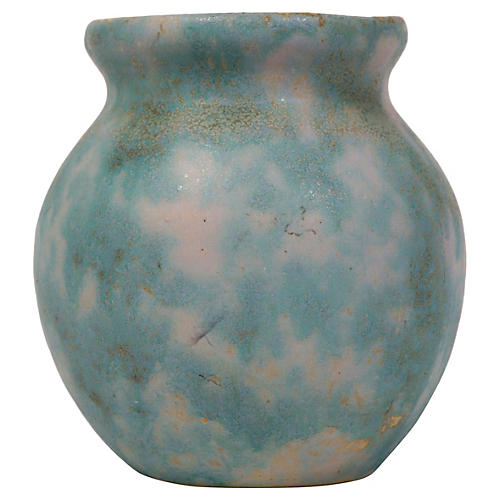 Mottled Green & Lavender Vase