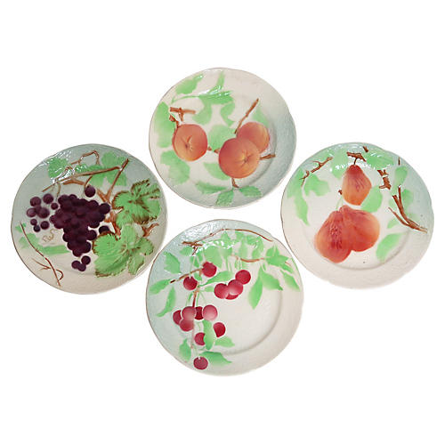 19th-C. French Faience Fruit Plates, S/4