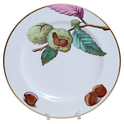19th-C. Hand-Painted Chestnut Plate