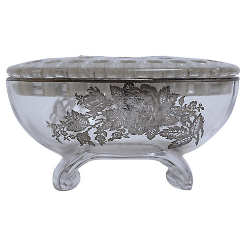 Crystal Bowl & Flower Frog w/ Roses