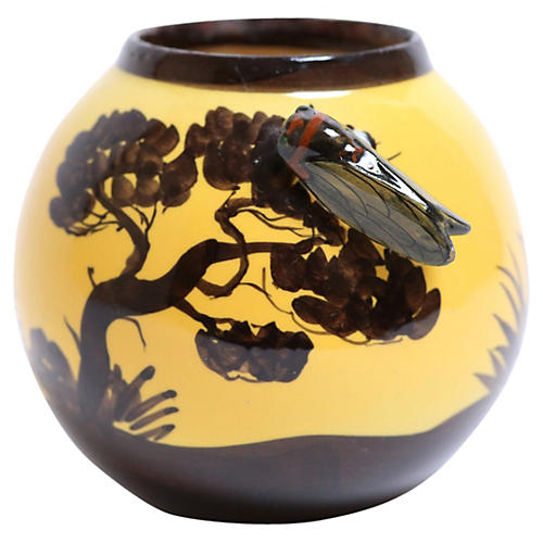 French Art Vase w/ Cicada